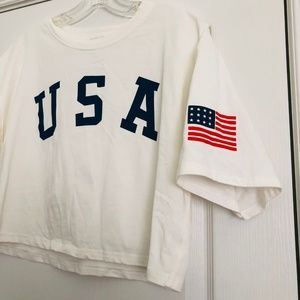 ROMWE White USA Crop Top